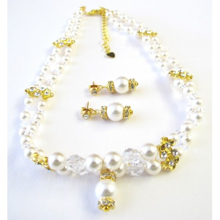 Double Stranded White Pearls Crystals Necklace Gold Rondells