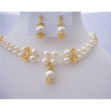 Bridal Dream Jewelry Double Stranded Swarovski Pearls Crystal Necklace