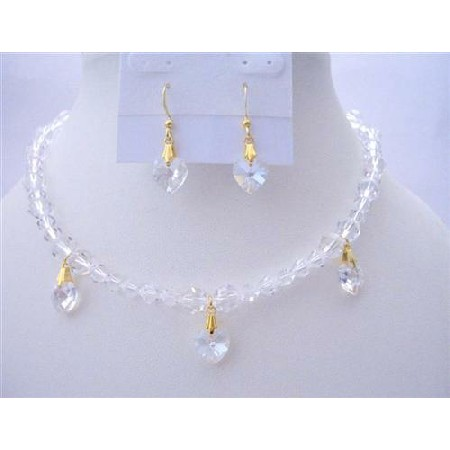 Romantic Jewelry Clear Crystals Necklaces Moonlite Heart Set