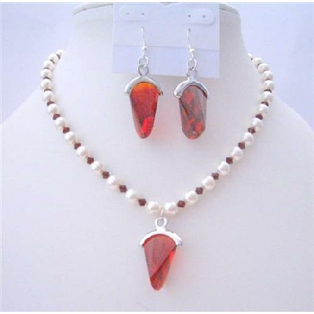 White Pearls Jewelry Siam Red Crystals Earrings Necklace Set