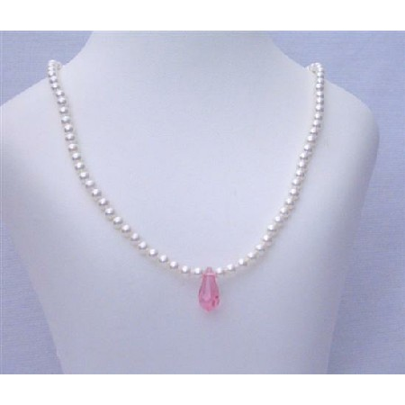 Pink Crystals Teardrop Flower Girl White Pearls Jewelry Necklace