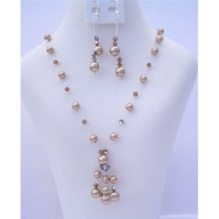 Custom Bronze Pearls & AB Smoked Topaz Crystals Necklace Set