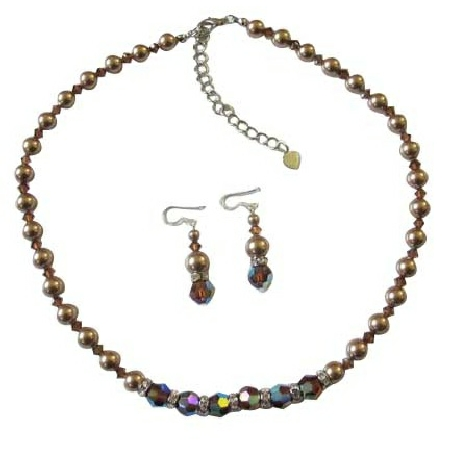 Smoked AB Topaz Crystals Bronze Pearls Jewelry Set