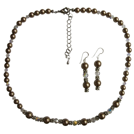 Bridesmaid Bronze Pearls & AB (Aurora Borealis) Crystals Jewelry Set