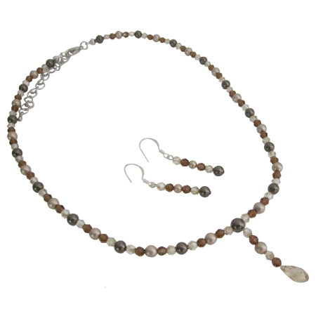 Briolettes Drop Jewelry Brown Pearls Crystals Necklace Set
