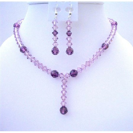 Light & Dark Puprle Crystals Drop Down Wedding Jewelry Set
