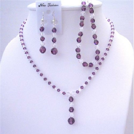 Custom Swarovski Amethyst Clear Crystals Necklace Earring Bracelet Set
