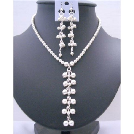 White Pearls Swarovski Pearls Drop Necklace Earrings Jewelry