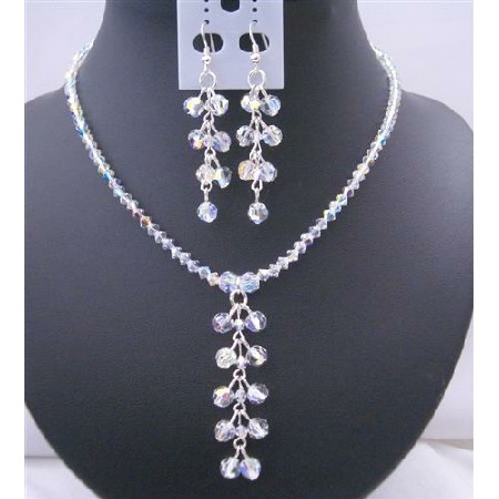 Swarovski AB Crystals Danglng Drop Necklace & Earrings Jewelry Set