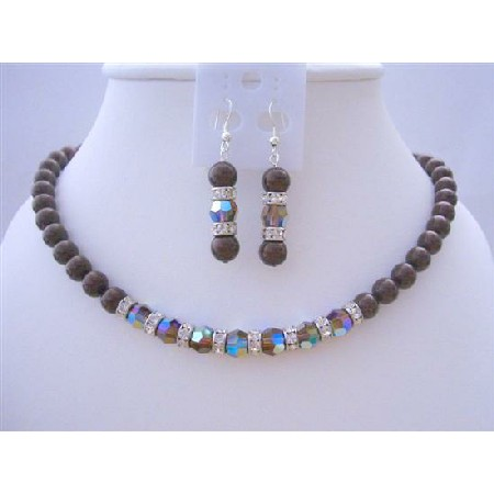 Meroon Pearls Swarovski Smoked Topaz 2X Crystals Necklace Set