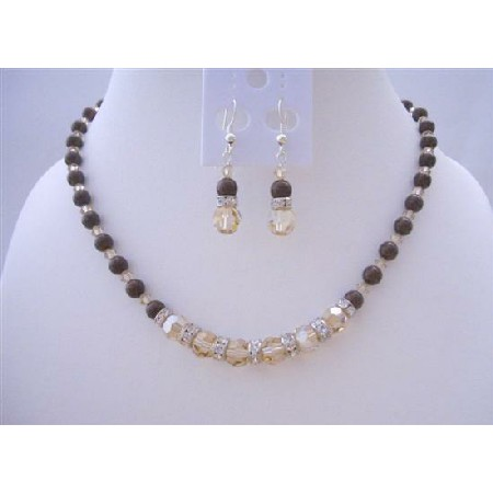 Maroon Pearls Jewelry w/ Smoked Topaz 2X Crystals