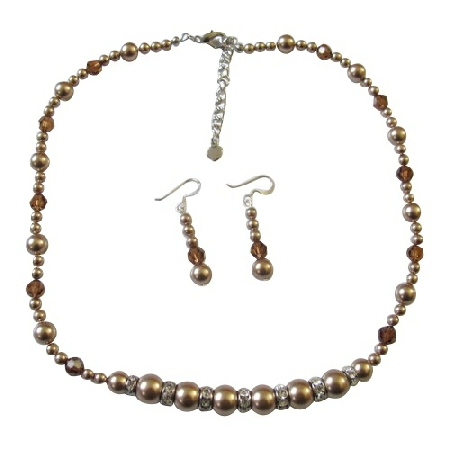 Pearls & Crystals Bronze Pearls Smoked Topaz Necklace Set