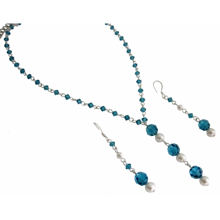Handcrafted Bridesmaid Swarovski Indicolite & White Pearls Jewelry Set