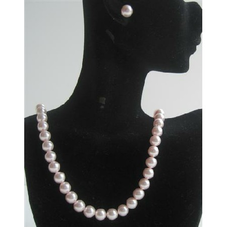 Rose Pink Pearls Handcrafted Swarovski Necklace Stud Pearls Earrings