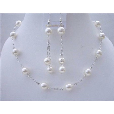White Pearl Wedding Jewelry Handcrafted Necklace Set