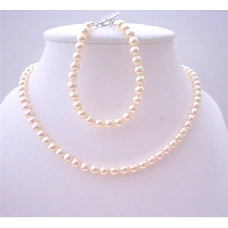 Ivory 6mm Pearls Flower Girl Jewelry Necklace & Bracelet