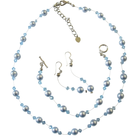 Blue Pearls Aquamarine Crystals Wedding Jewelry Pearls Set