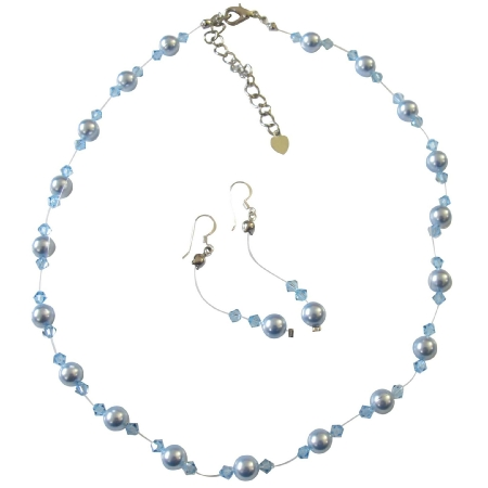 Handcrafted Custom Jewelry Blue Pearls & Aquamarine Crystals