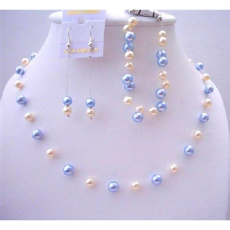 Blue & Ivory Pearls Handcrafted Bridal Bridesmaid Jewelry
