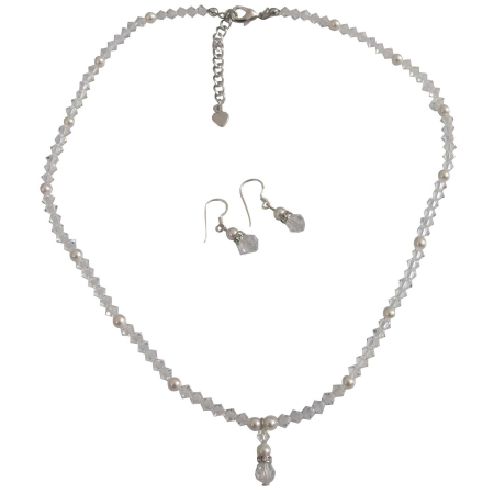 Clear Crystals White Pearls Flower Girls Drop Down Jewelry