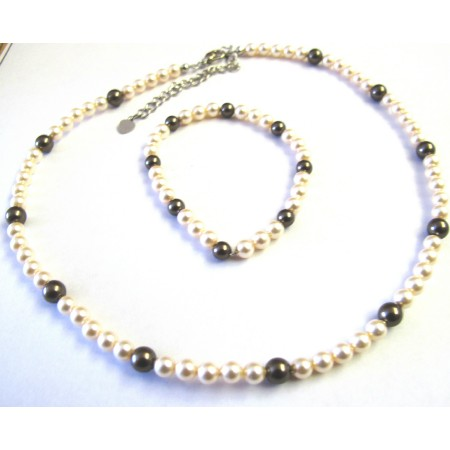 Flower Girl Ivory & Brown Swarovski Pearls Necklace & Bracelet Jewelry