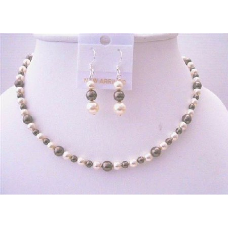 Brown Ivory Pearls Flower Girl Jewelry Necklace & Earrings