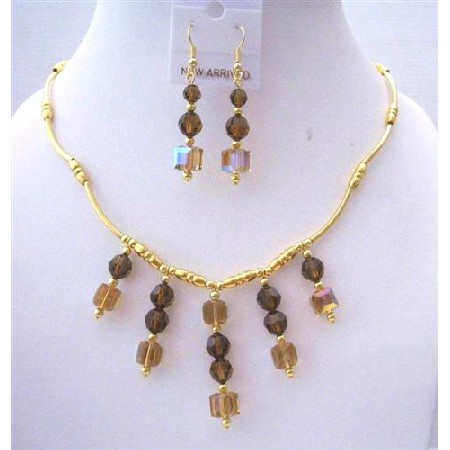 Topaz AB Crystals Bridal Jewelry 22k Gold Plated Necklace