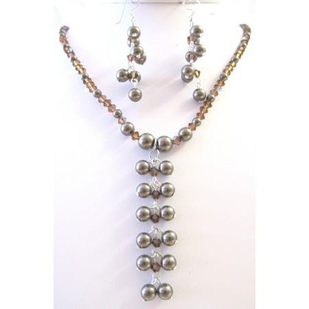 Smoked Topaz AB Crystals Brown Pearls Drop Necklace Jewelry