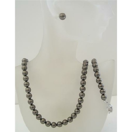 Dark Brown Espresso Pearls 8mm Complete Set Necklace Earring