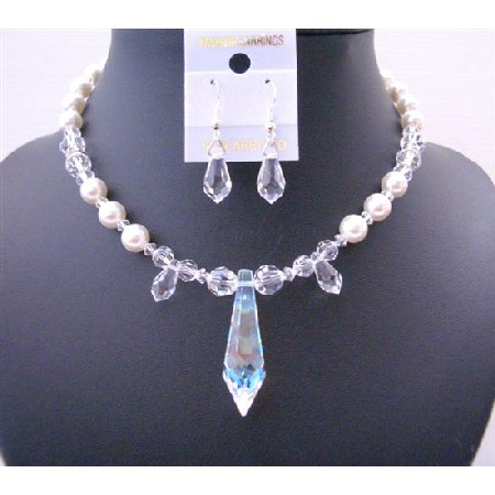 Clear Crystals & White Pearls w/ Teardrop Custom Jewelry Set