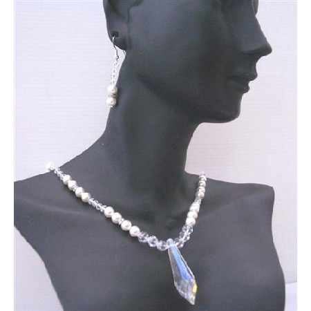 Handcrafted Clear Crystal White Pearls Party Wedding Jewelry