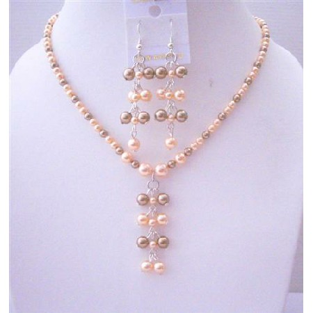 Bronze & Peach Pearls Drop Earrings Jewelry Set