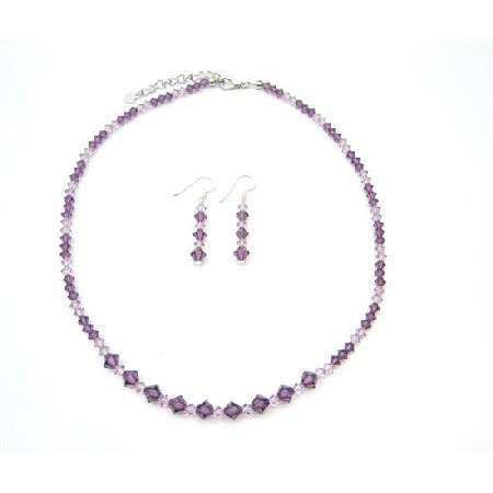 Swarovski Amethyst Light & Dark Crystals Handcrafted Wedding Jewelry