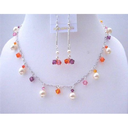 Multicolor Crystals Ivory Pearls Wedding Party Jewelry Gift
