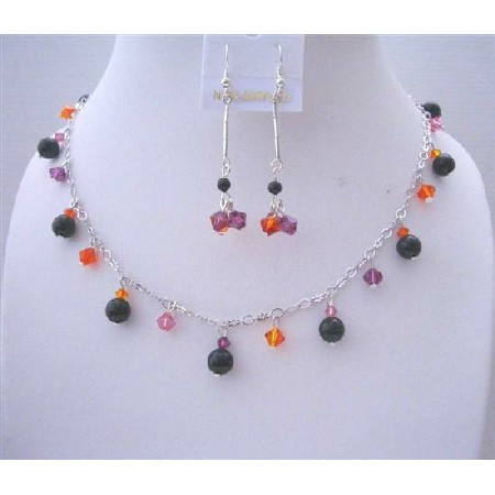 Black Pearls MultiColor Crystals Wedding Party Jewelry Gift
