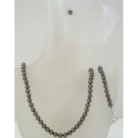 Pearl Swarovski Dark Brown Pearls 6mm Necklace Earrings & Bracelet Set