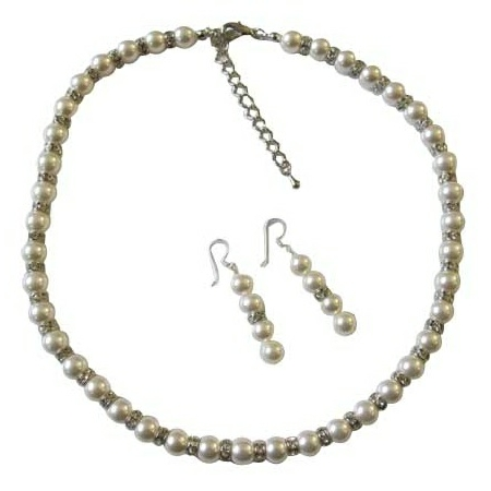 Bridal White Pearls Jewelry White Pearls Necklace Earrings
