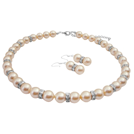 Silver Rondells Peach Swarovski Pearls 10mm Necklace Set
