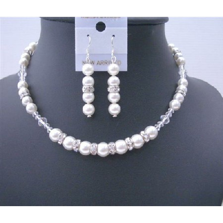 Big Pearls 10mm White Pearls Silver Rondells & Clear Crystals Jewelry