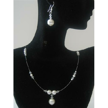 Bridesmaid Clear Crystals White Pearls Handcrafted Jewelry