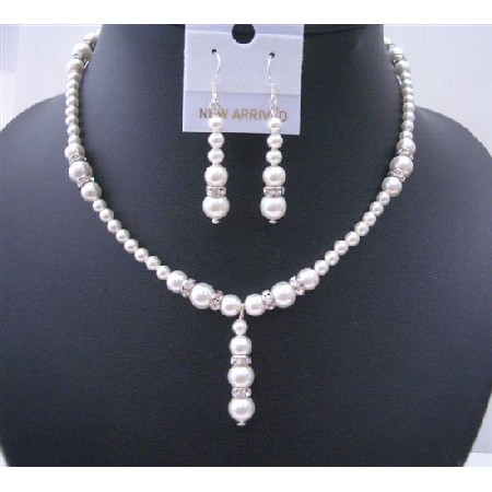 White Pearls Jewelry Drop Down with Silver Rondells Perfect Wedding Set