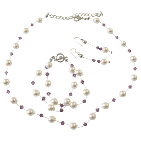 Aemthyst Crystals & White Pearls Handcrafted Custom Jewelry