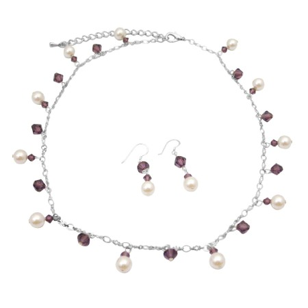 Swarovski Amethyst Crystals & White Pearls Handcrafted Necklace Set