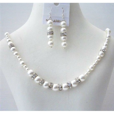 White Pearls Handcrafted Custom Bridal Jewelry Necklace Earrings