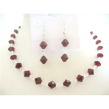 Garnet & Clear Crystals Bridal Bridemaid Handcrafted Jewelry