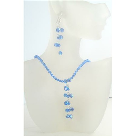 Crystals AB Sapphire Drop Necklace Earrings Set