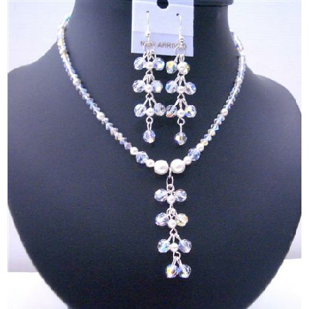 White Pearls AB Swarovski Crystals Drop Necklace Earrings Jewelry Set