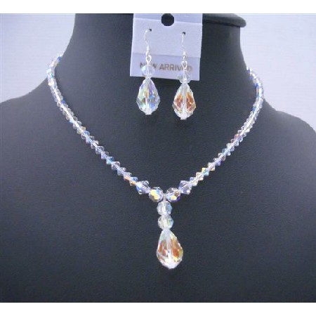 AB Crystals Teardrop Irridescent Crystals Bridal Jewelry Set