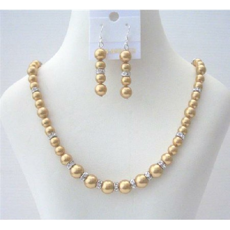 Golden Pearls Bridal Bridesmaid Handcrafted Rondell Jewelry