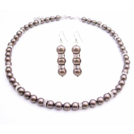 Brown Espresso Pearls Bridesmaid Handmade Jewelry